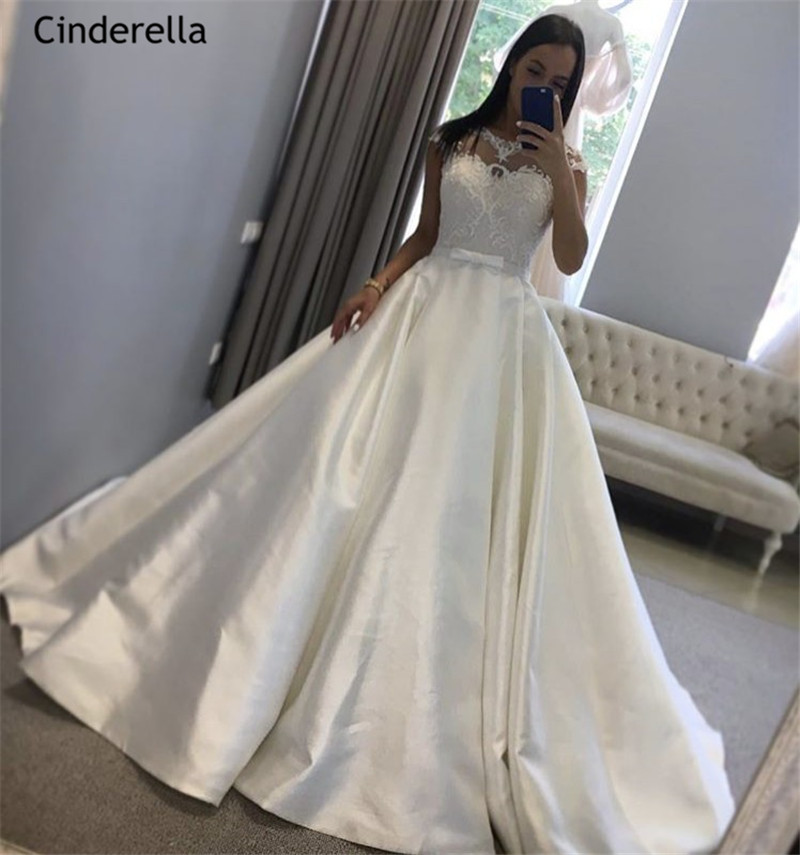 Cinderella Newest Hand Made Bow Scoop A Line Sweep Train Lace Up Back Lace Applique Satin Wedding Dresses vestido de noiva in Wedding Dresses from Weddings Events