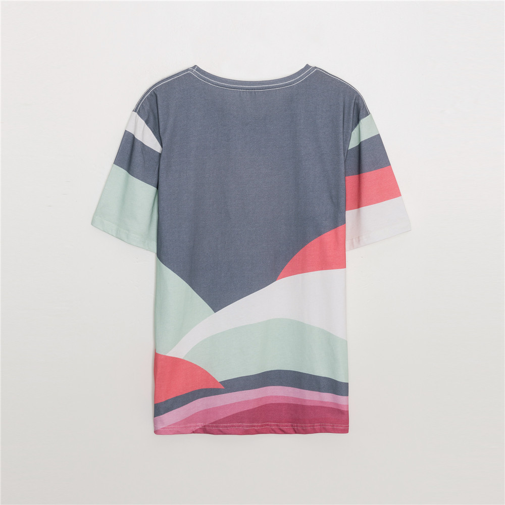 Women T-shirt Spring / Summer 2020 New T-shirt Fashion Casual White Cotton Loose Color Printing Short Sleeve T-shirt Top