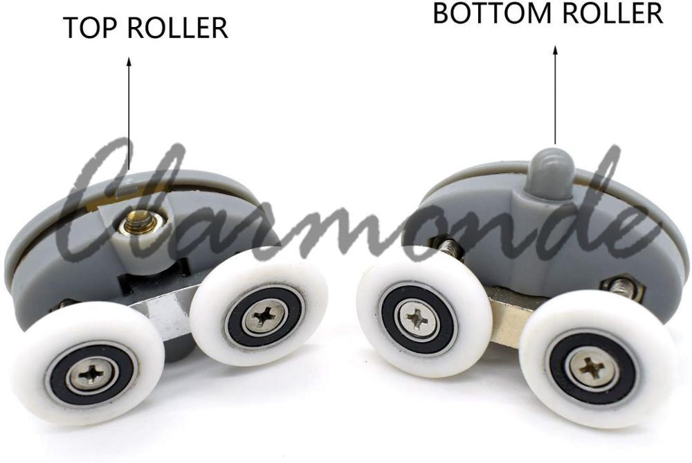 WE 4pcs 23mm Double Top Bottom Shower Door Rollers Wheels Runners Kit