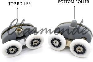 4 шт. двойные душевые двери нижние ролики/бегуны/колеса 25 мм/23 мм Расстояние колеса 30 мм