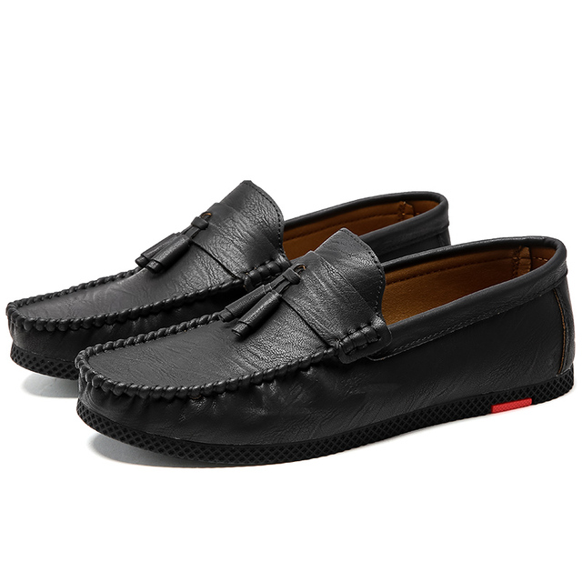Mens New Genuine Leather Driving Moccasin Casual Slip On Loafers Peas Boat Shoes