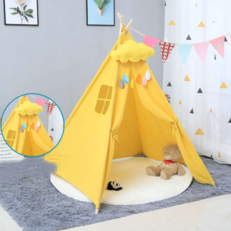 1.35m Large Unbleached Canvas House Tipi Tent Portable Kids Tent Indian Play Tents Children's Tents Little House Room Decoration