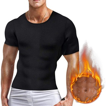 Men Body Shaper TShirt Weight-Loss Neoprene Bodysuit Workout Abdominal Waist Trainer black vest T-Sh