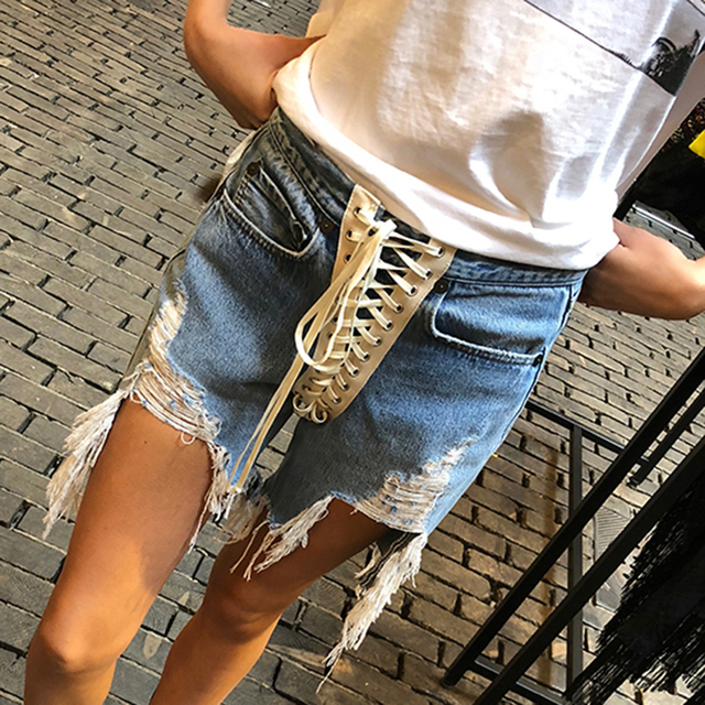 TWOTWINSTYLE Bandage Denim Short For Women High Waist Patchwork Tassel Sexy Casual Shorts Female Fashion New Clothing Summer 2