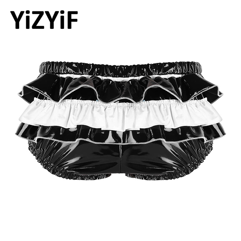 Sissy Panties Underwear Pouch Lingerie Briefs Bulge Wet-Look Men Zippered Back-Frilly