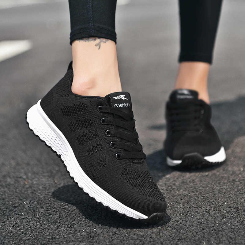 Buty dla par kobiety mieszkania trampki moda oddychająca Walking Mesh buty dla kobiet 2020 siłownia Tenis teminino zapatos de mujer