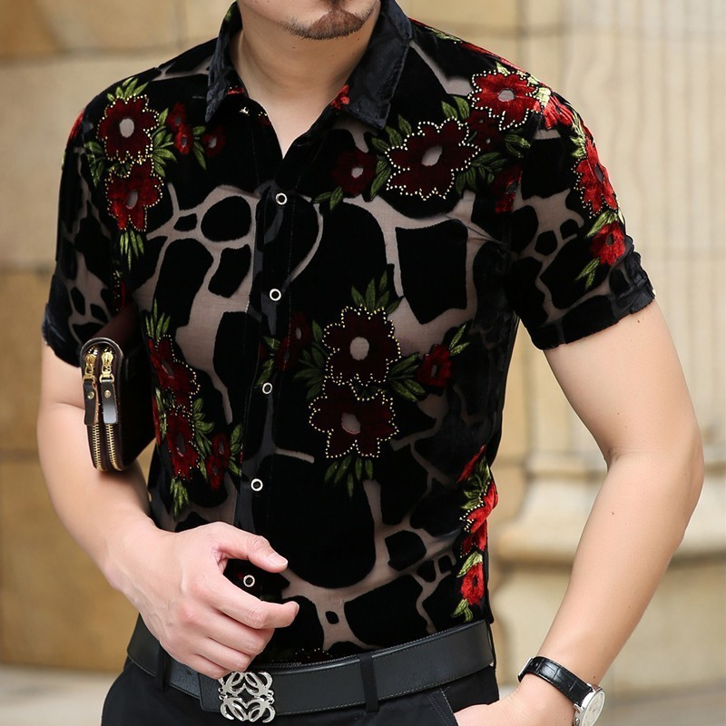 2020 Fashion Camisa Hombre Shirt Camisa Social Streetwear Flower Shirt Hawaiian Man Shirt Transparent Short Sleeve Camicia Uomo