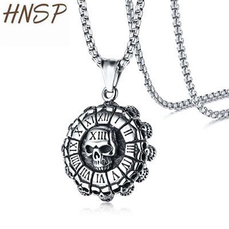HNSP 60cm Stainless Steel Chain + Alloy Roman Numerals Round Skull Pendant Necklace For Men Male Jewelry Gift