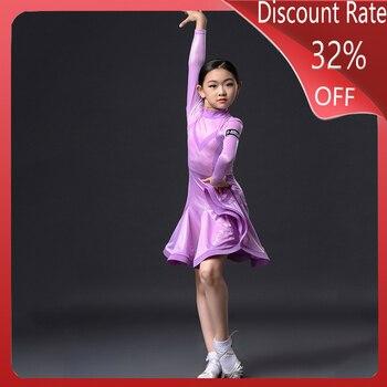 Latin Practice Dress Children Girl Latin Dance Dress Competition Dance Dress Cha Cha Rumba Samba Tango Performance Wear DQS3652