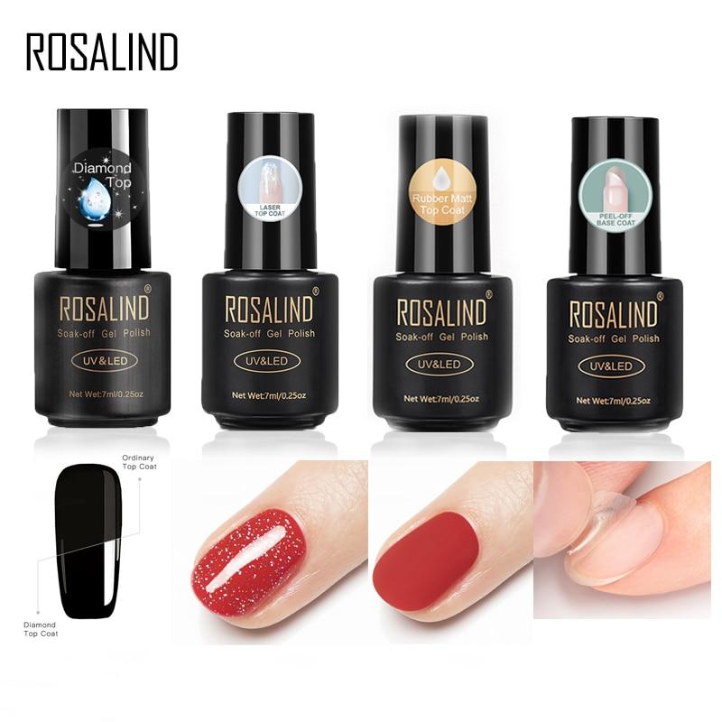 ROSALIND Base For Nails Gel Polish Hybrid Laser Top Matt Coat Semi Permanent UV Varnish For Manicure Soak Off Primer Lacquer 7ML