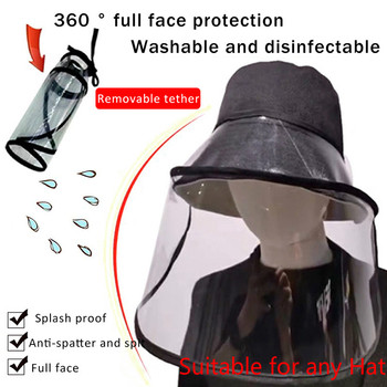 Protective Transparent Mask Anti-fog flu Coronaflu Saliva Face Masks Windproof Fisherman Hat  With Removable Protection Cap