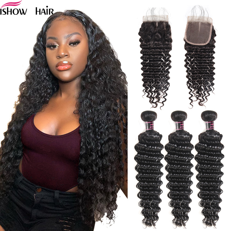 Ishow Deep Wave Bundles With Closure Human Hair Bundles With Closure Brazilian Hair Weave Bundles With Closure Non-Remy Hair