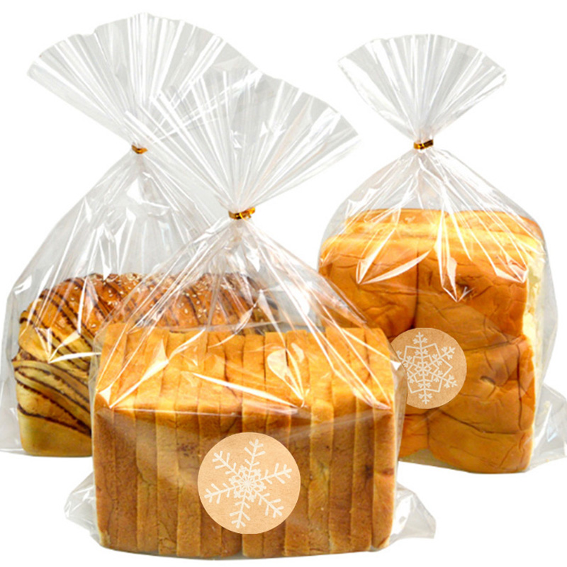 Transparent Plastic Bags Candy Lollipop Cookie Packaging Bag With Sealing Twist Ties Snowflake Sticker Party Toast Bread Bag