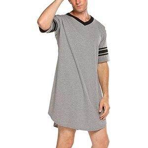 Мужская хлопковая ночная рубашка с коротким рукавом и v-образным вырезом, мягкая свободная ночная рубашка, удобная мужская одежда для сна, М...