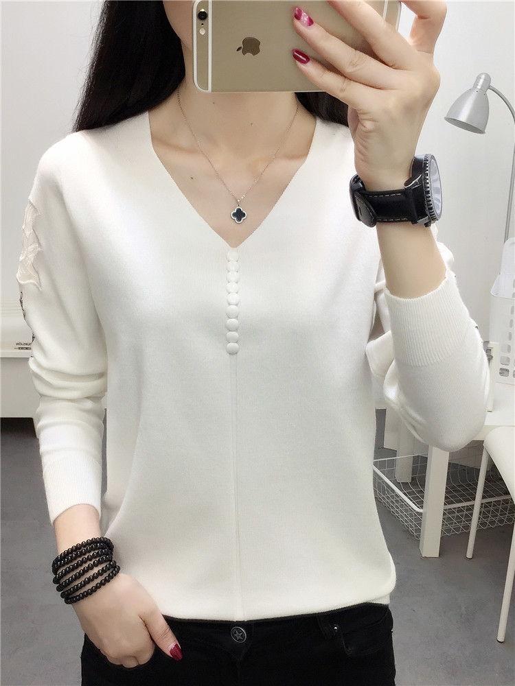 Pullover Long Sleeve Knit Pure Color Buttons Thin Render Unlined Upper Garment Of 2020 New Bud Is Hollow-out Sweater Female