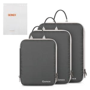 Image 1 - Gonex 3packs Soft Double Sided Compression Packing Cubes Set with 4 Reusable Bags, Suitcase Luggage Organizer Travel Storage Bag