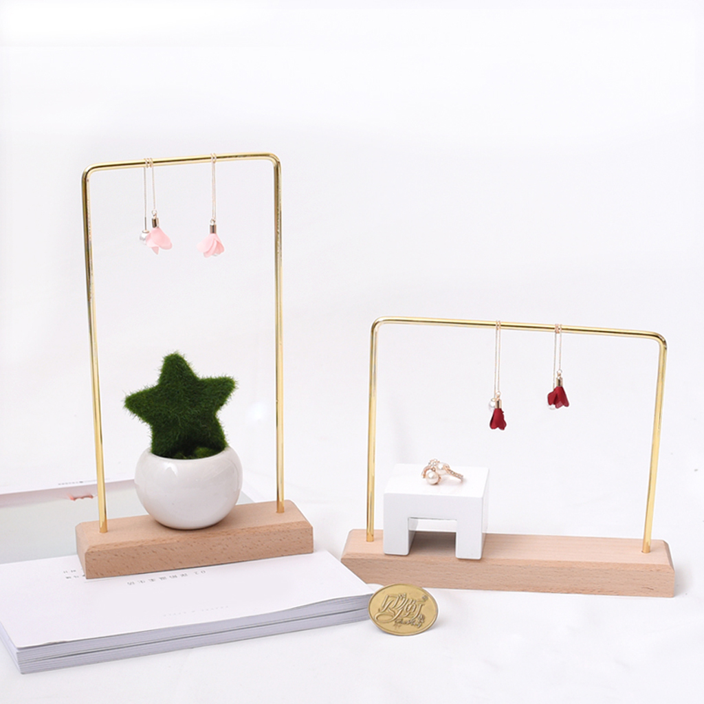 Wood Jewelry Display Rack Stand Holder Earrings Hanging Organizer Showcase