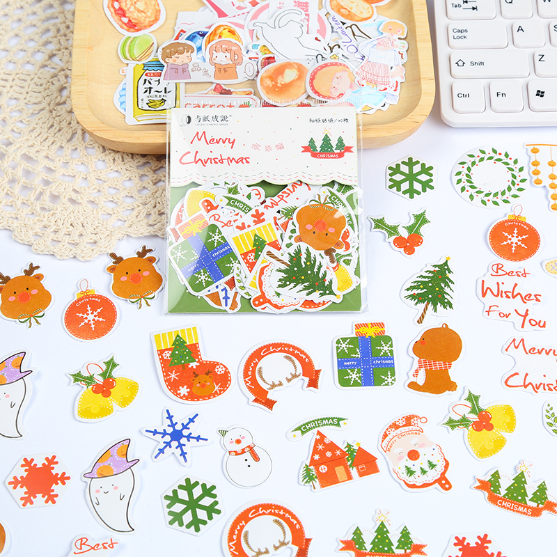 40 Pcs Cute Stickers Bag Fall Christmas Bullet Journal Stickers For Diy Scrapbooking Diary Halloween Christmas Gift For Kids