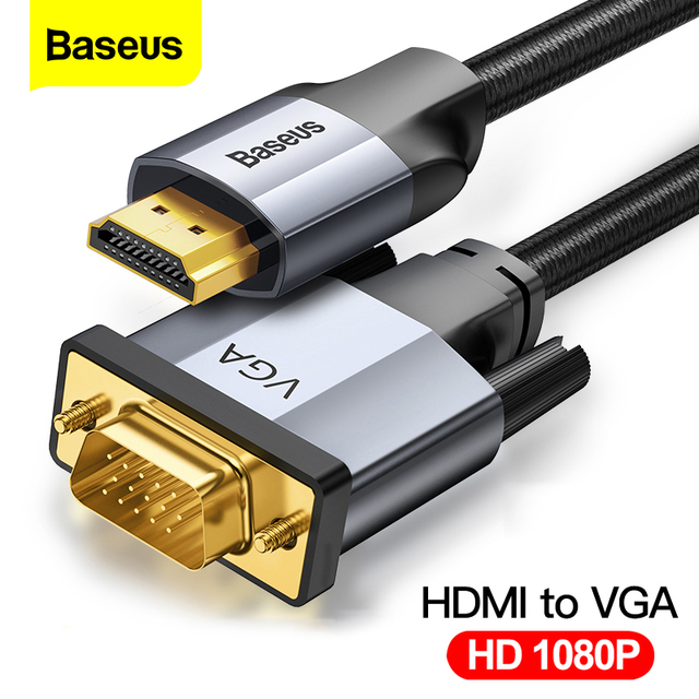 Baseus HDMI To VGA Cable 1080P HD A Male to Male VGA to HDMI Audio Adapter Cable For Projector PS4 PC TV Box HDMI VGA Converter
