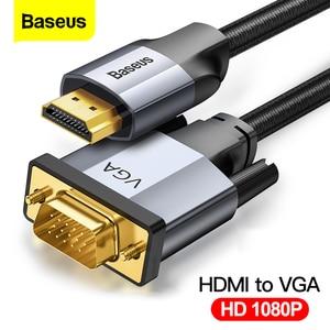 Image 1 - Baseus kabel HDMI do VGA 1080P HD A z męskiego na męskie VGA do HDMI Adapter Audio kabel do projektora PS4 PC TV Box HDMI VGA konwerter
