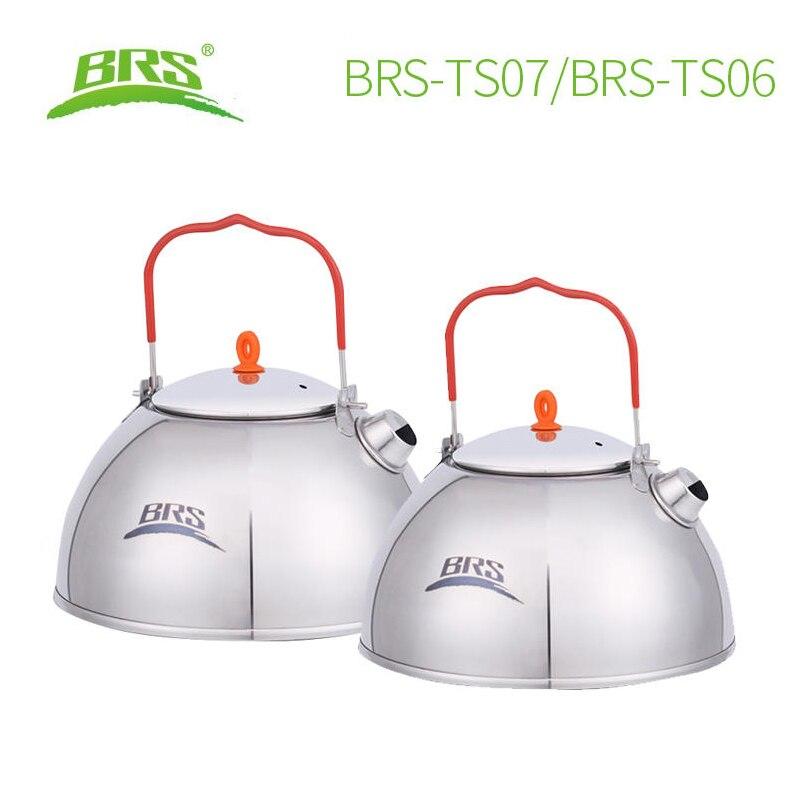 BRS 0.6/1.1L camping en plein air pêche en acier inoxydable bouilloire d'eau théière cafetière randonnée pique-nique théière avec filtre à thé