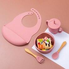 5 pçs/1 conjunto silicone tigela de alimentação do bebê utensílios de mesa à prova dnon água colher antiderrapante louça bpa livre pratos de silicone para utensílios de mesa do bebê