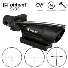 ohhunt 5x35 ACOG Style Tactical Rifle Scope Real Fiber Red or Green Glass Etched