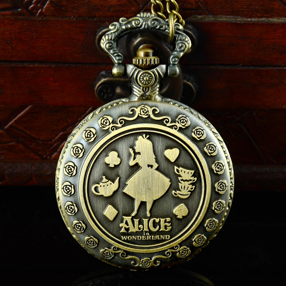 New Arrival Retro Alice In Wonderland Theme Bronze Quartz Pocket Watches Vintage Fob Watches Christmas Brithday Gift