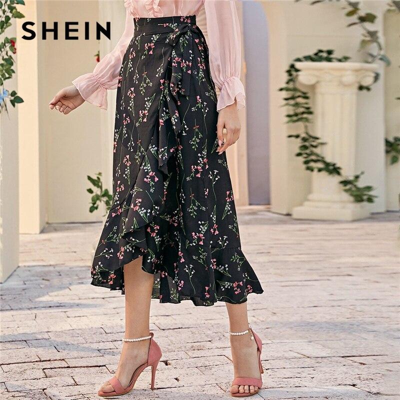 SHEIN Bohemian Black Ruffle Hem Wrap Knotted Floral Skirts Women Spring Belted High Waist Ladies Sheer Straight Long Skirt