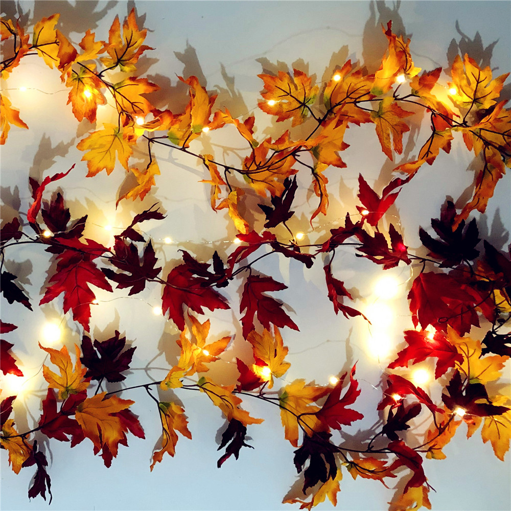 Battery Operated Autumn Maple Leaf Cane Shaped String Lights Christmas Holiday Party Fairy Silver Wire Lights Decoration Light