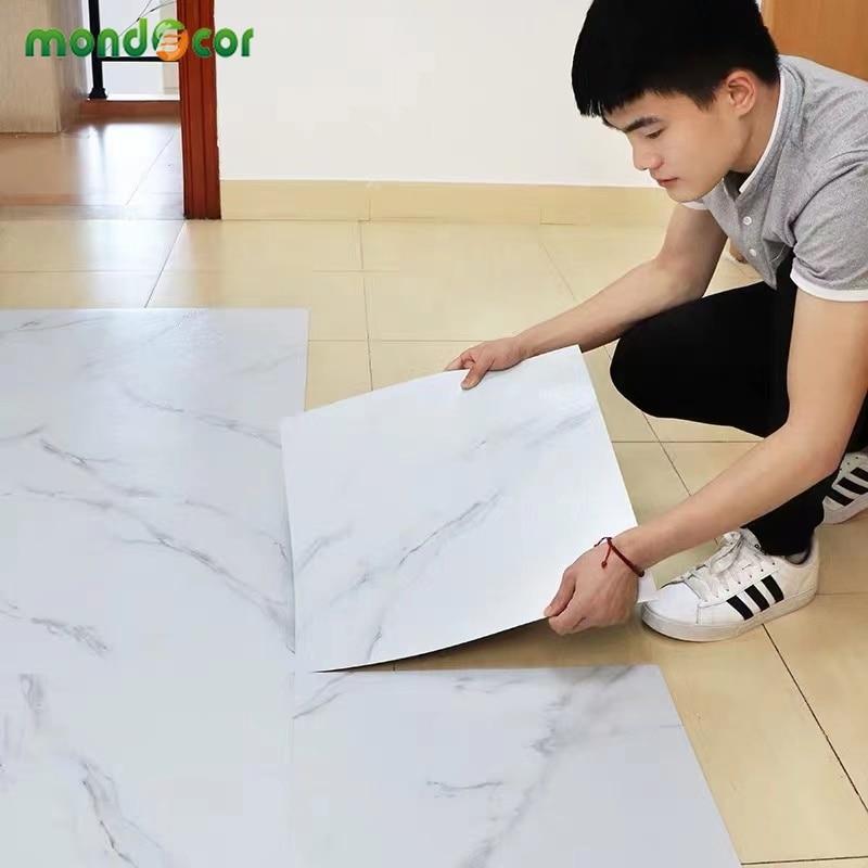 Pegatinas de azulejos de suelo impermeable, autoadhesivos de mármol, cocina, baño, paneles de suelo, renovación de casa, calcomanías de pared, Peel and Stick
