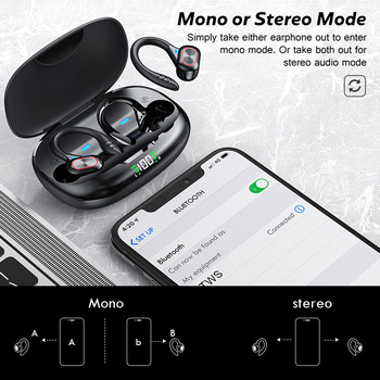 TWS Wireless Earphones Waterproof HiFi Stereo Sport Headsets LED Display Bluetooth-Compatible Headphones Earbuds With Microphone 5