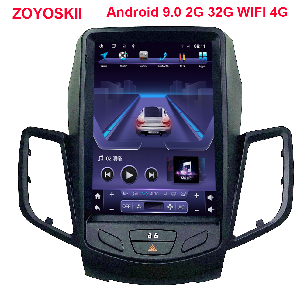 ZOYOSKII Android 9.0 10.4 inch IPS vertical screen car <font><b>gps</b></font> multimedia radio bt navigation player for <font><b>Ford</b></font> <font><b>Fiesta</b></font> 2008-2015 image