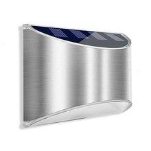 Aço inoxidável ao ar livre luz solar solar jardim luz de parede à prova dwaterproof água movido a energia solar luzes de parede para jardim porta da frente cerca