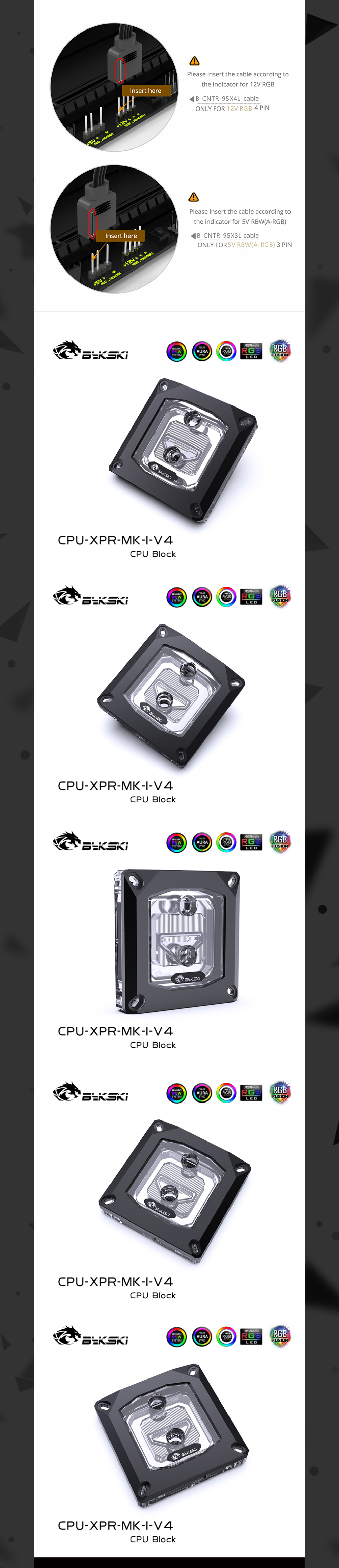 Bykski CPU Water Cooling Block For Intel Acrylic Black, Liquid Cooling System Micro Waterway, CPU-XPR-MK-I-V4