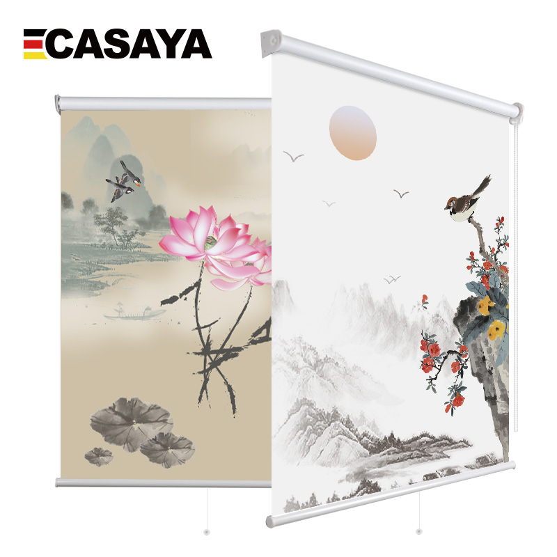 Chinese Style Printed Roller Blinds Half Shade Eco-friendly Window Blinds Screen For Living Room Tearoom