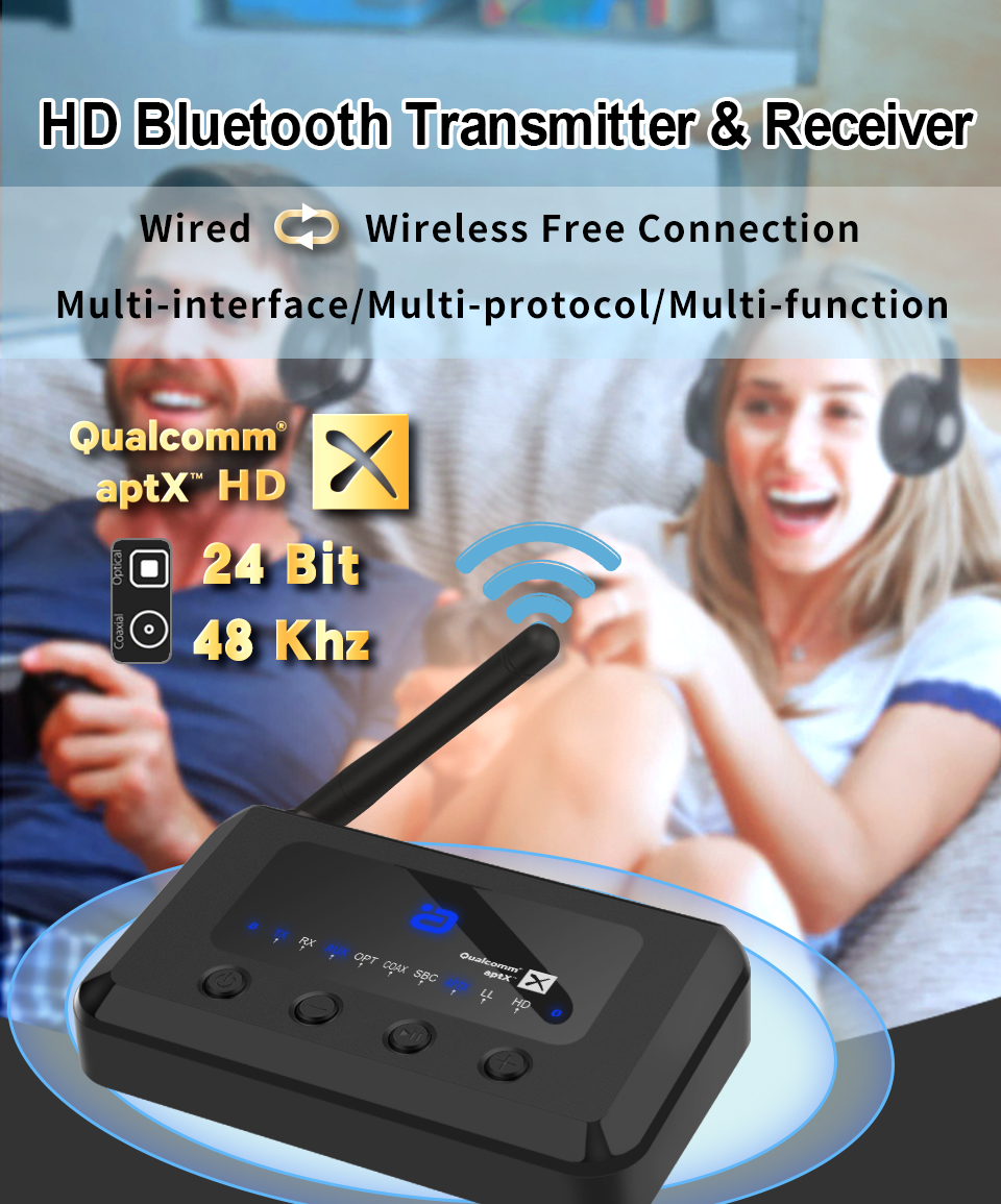 MR265 V5.0 Wireless bluetooth aptX LL /HD 2 in 1 Receiver Transmitter HD Music Audio Adapter 3.5mm Aux for Speaker TV MP3