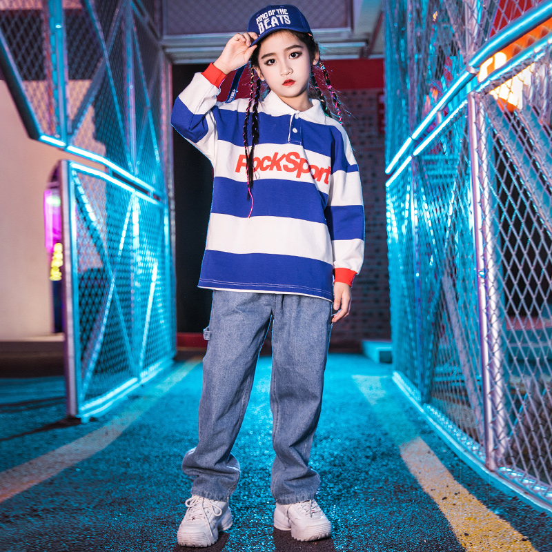 Fashion Jazz Dance Costumes Girls Blue Hip Hop Rave Outfit Boys Street Dance Practice Wear Stage Performance Clothing DC3503