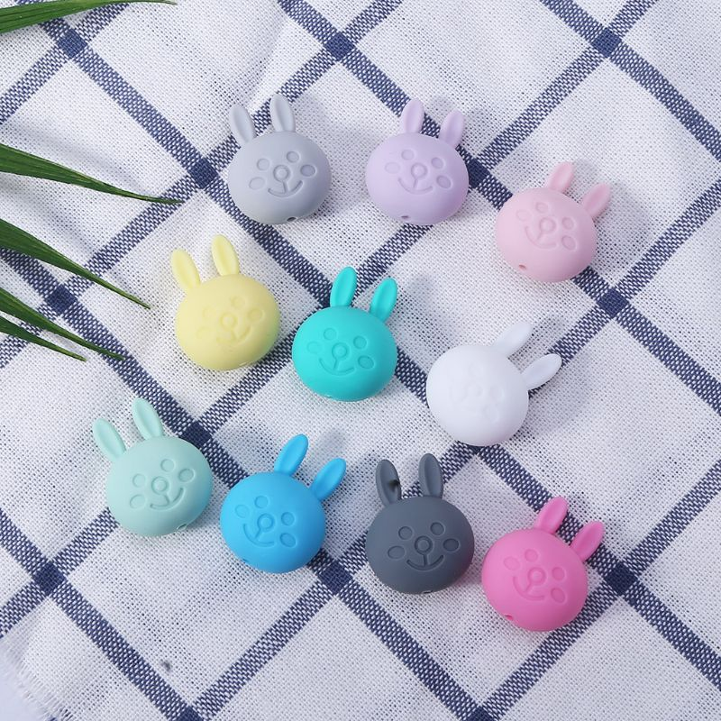 5 Pcs/pack New Silicone Rabbit Beads DIY Necklace Jewelry Accessories Loose Scattered Bead AXYA