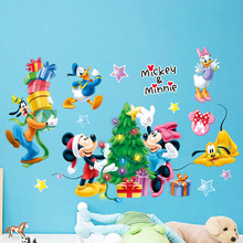 B027 Дисней мультфильм Микки обои наклейки на стену детская комната декоративные Стикеры для спальни Детский Сад Рождество стены краски