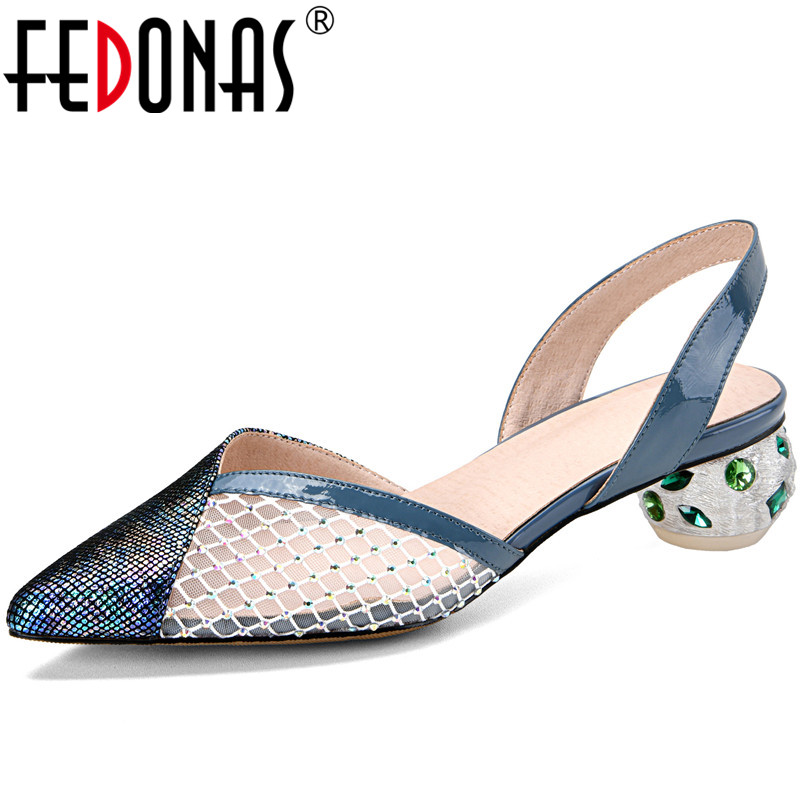 FEDONAS Women New Arrival Lace Up High Heeled Cow Leather Beaded Pointed Toe Slippers Sandals Basic Shoes Summer Shoes Woman