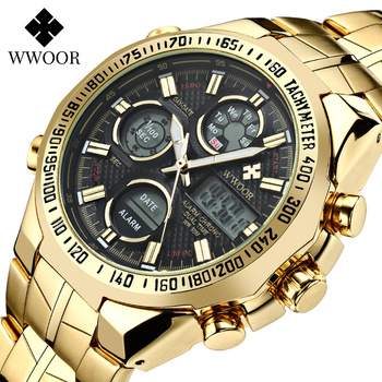 Luxury Gold Watch For Men WWOOR Top Brand Waterproof Man Fashion Sports LED Chronograph Quartz Stopwatch Wristwatches 2020
