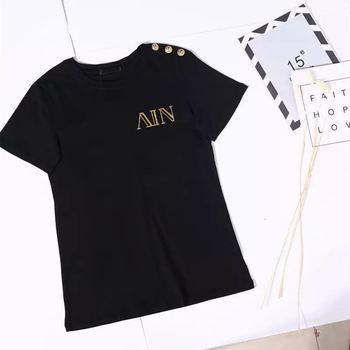 Verano Casual algodón camisetas letras elegantes imprimir Tops Tee moda Streetwear de talla grande hombres y mujeres unisex camiseta con etiqueta