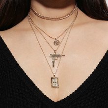 Fashionable Personality Cross Layered Necklace Women Gold Color Exaggerated Multi-element Alloy Pendant Necklace 2020 double layered pendant necklace