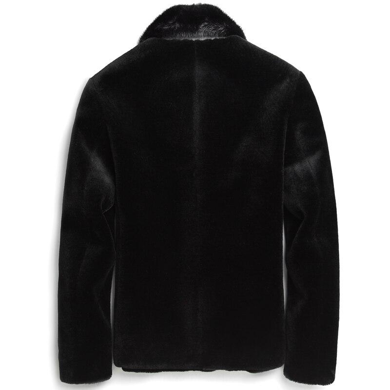 Short Real Fur Coat Men Clothes Man Sheep Shearing Wool Coats Mink Fur Collar Overcoat G-52-GY-8708KJ1104