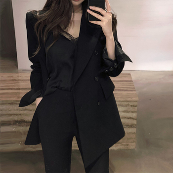 цена Korean Stylish Ladies Blazer Loose Solid Black Casual Suit Jacket Blazer Dames High Street Spring Autumn Women Blazer MM60NXZ онлайн в 2017 году