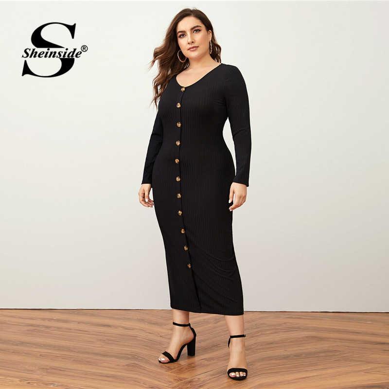 Sheinside, плюс размер, глубокий v-образный вырез, платье-карандаш для женщин, осень 2019, рукав-фонарик, однотонные миди платья, женские бордовые платья с поясом