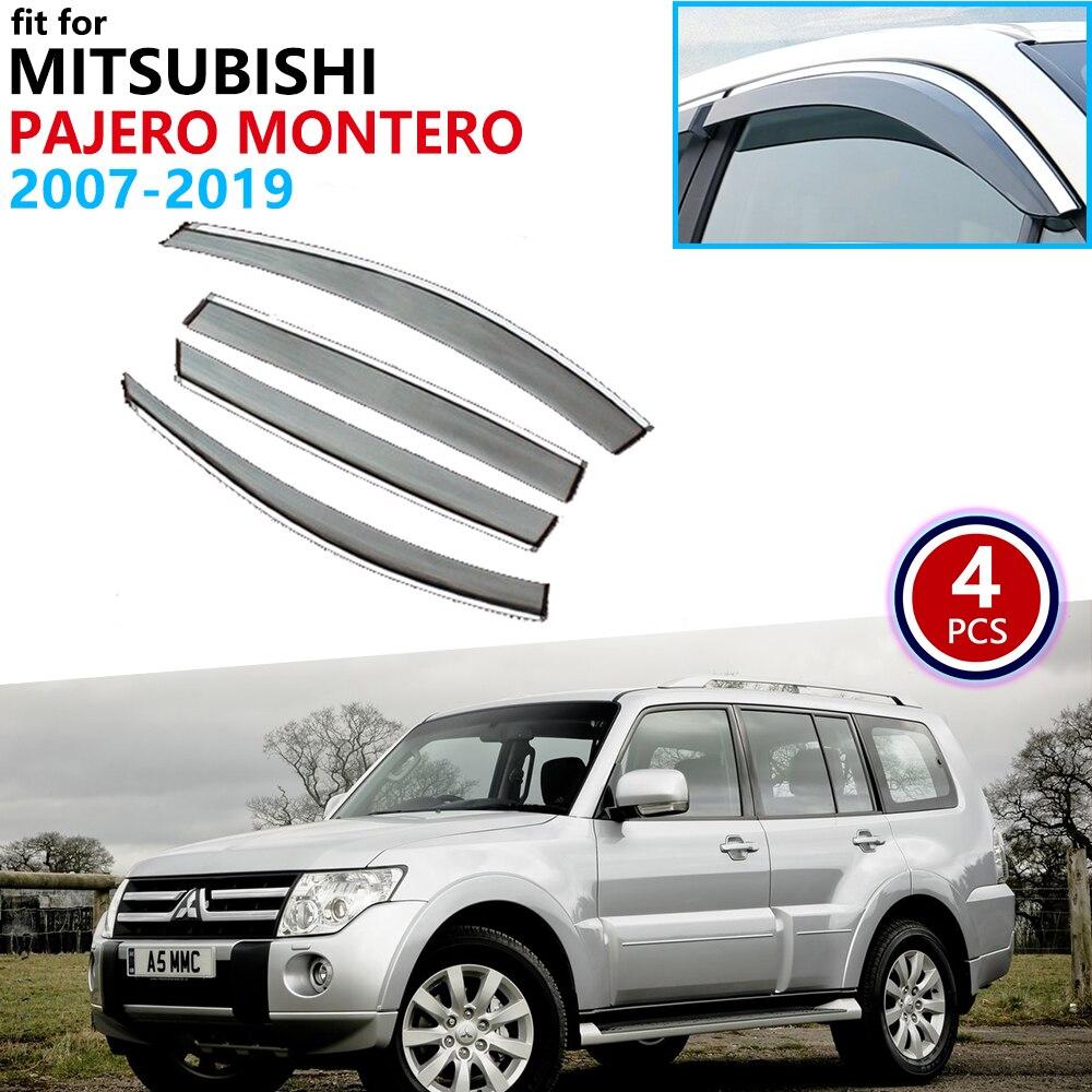 For Mitsubishi Pajero Shogun Montero V80 V87 V93 V97 2007~2019 Window Visor Vent Awnings Rain Guard Deflector Accessories 2010