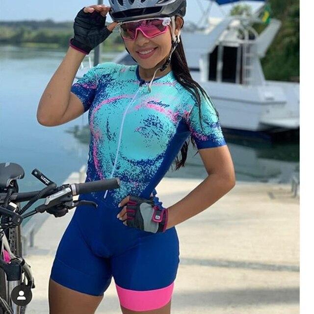 Ciclopp equipe triathlon terno das mulheres ciclismo skinsuit verão macacão uma peças ropa ciclismo conjunto de manga curta bodysuit 1