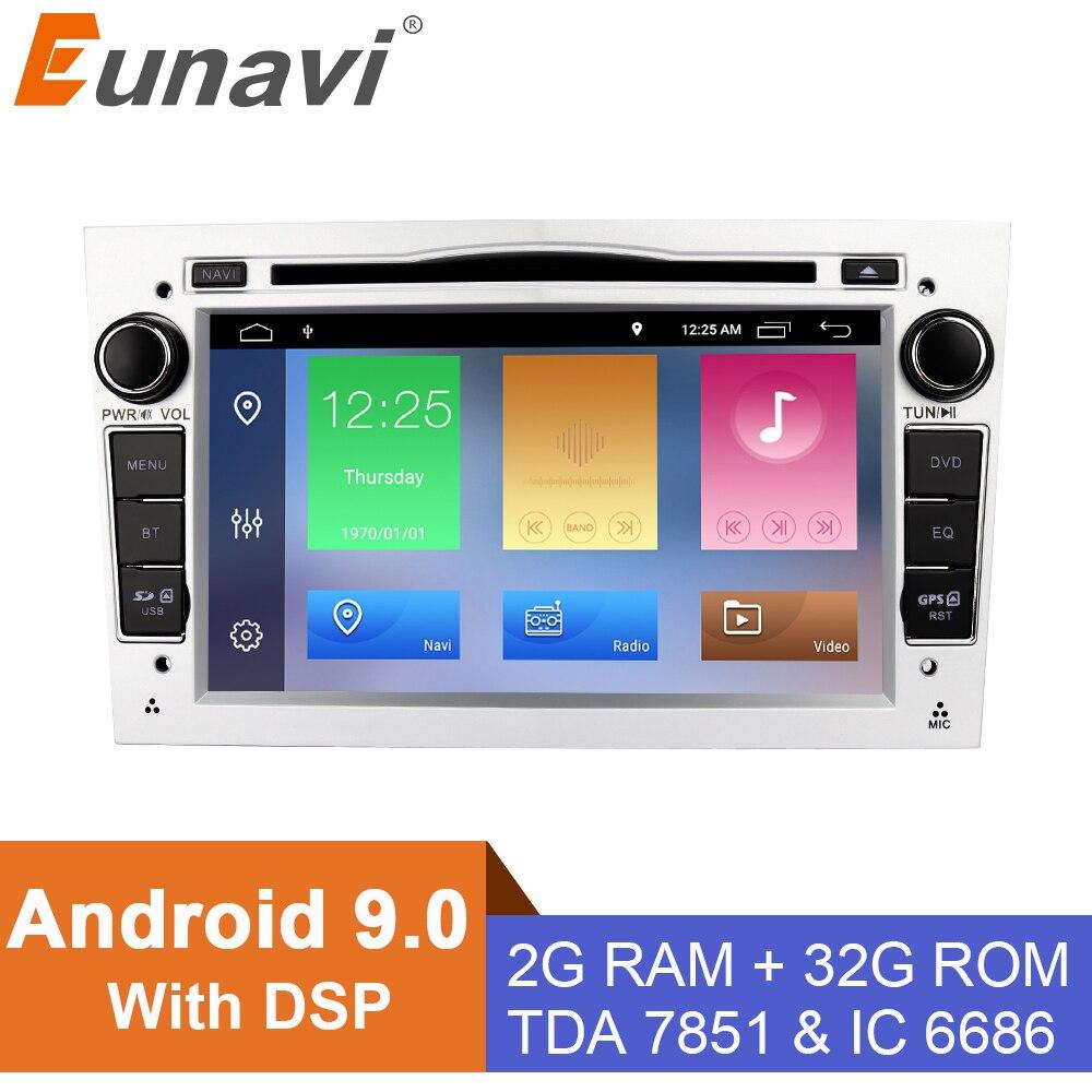 Eunavi 7'' 2 din Android 9 Car DVD radio stereo for opel Vauxhall Astra H G J Vectra Antara Zafira Corsa Vivaro Meriva Veda GPS